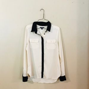 American Eagle Cream and Black Button Up Blouse